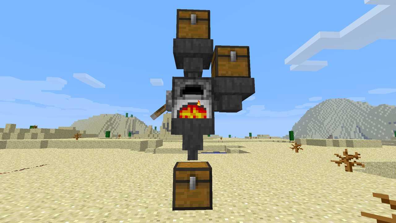 Печка с воронками в Minecraft