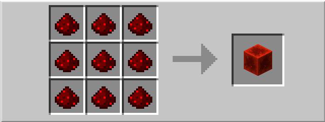 Рецепт блока красного камня в minecraft