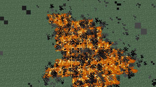 Горящая нефть в Minecraft
