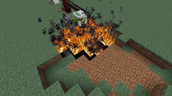 Откачка горящей нефти в Buildcraft